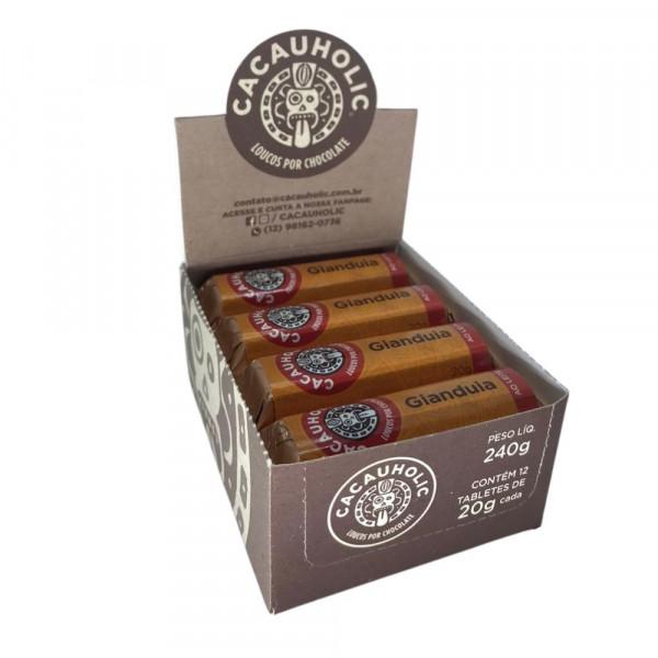 Tablete de Chocolate CacauHolic Gianduia 33% com Pasta de Avelã- 20g Caixa com 12 unidades