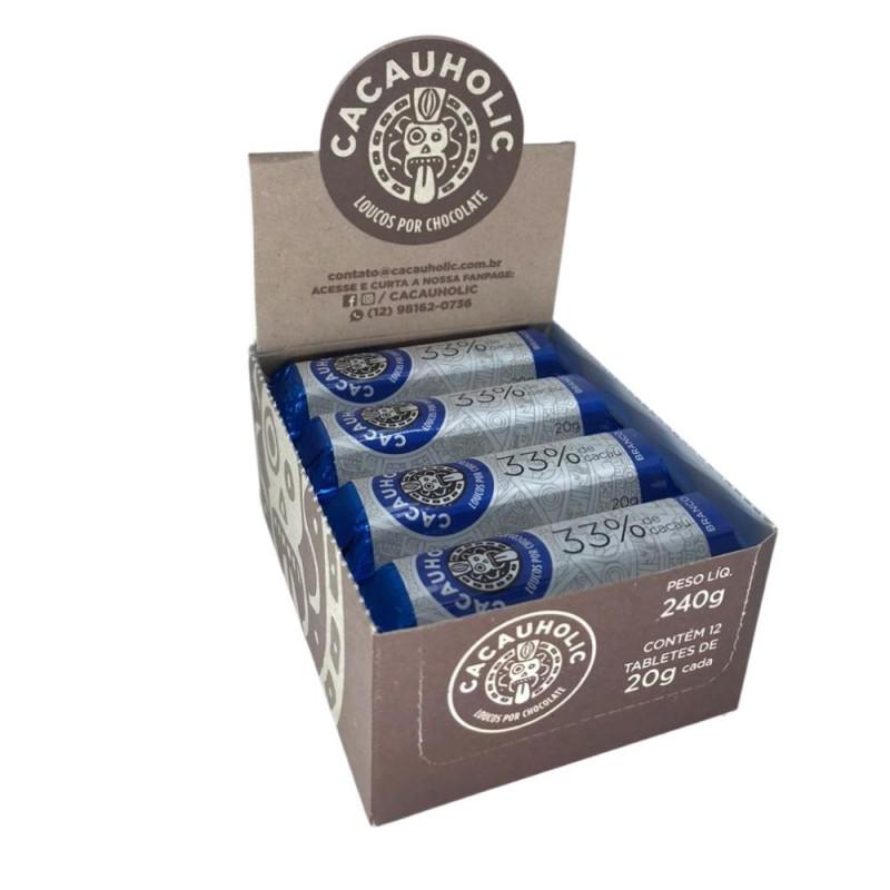 Tablete de Chocolate CacauHolic Branco 33% - 20g Caixa com 12 unidades