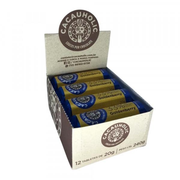 Tablete de Chocolate CacauHolic Branco 33% com Goldenberry - 20g Caixa com 12 unidades
