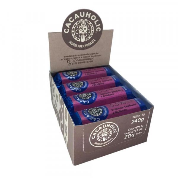 Tablete de Chocolate CacauHolic Branco 33% com Gojiberry, Cranberry e Blueberry - 20g Caixa com 12 unidades