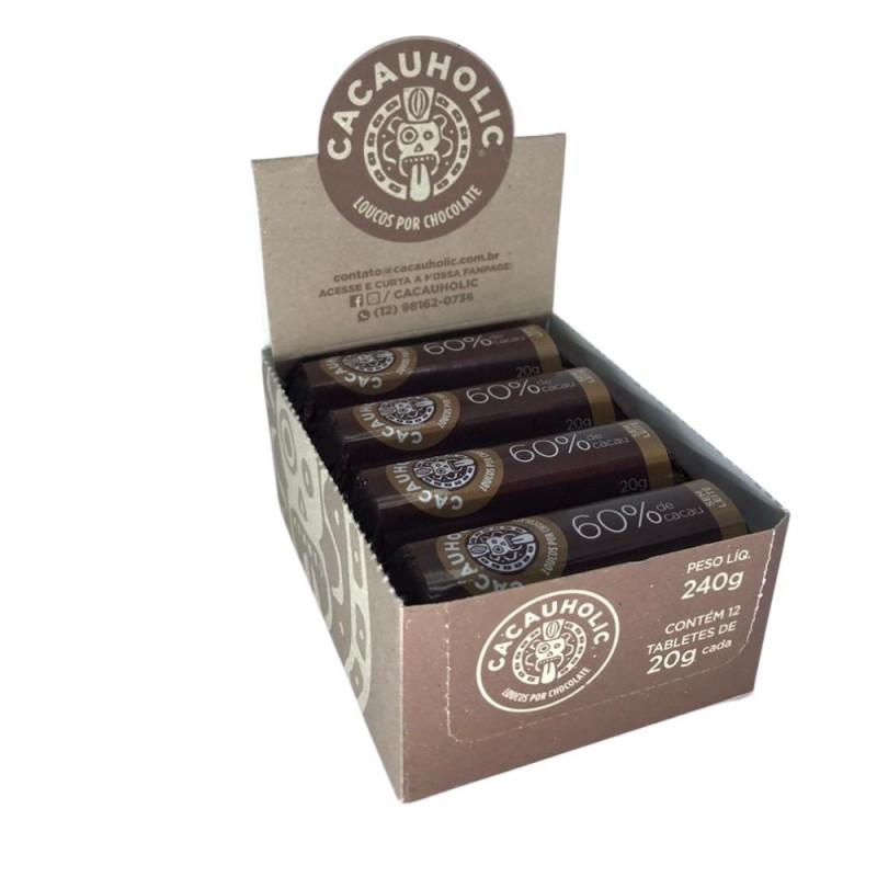 Tablete de Chocolate CacauHolic 60% Puro Sem Leite - 20g Caixa com 12 unidades