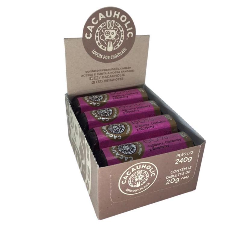 Tablete de Chocolate CacauHolic 60% Sem Leite com Gojiberry, Cranberry e Blueberry - 20g Caixa com 12 unidades