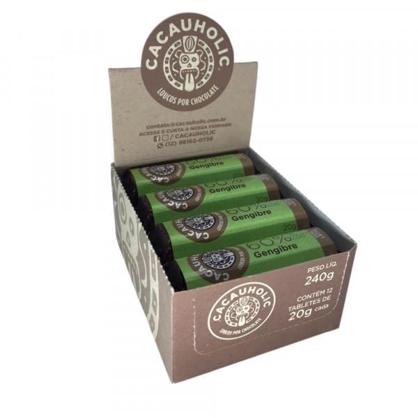 Tablete de Chocolate CacauHolic 60% Sem Leite com Gengibre - 20g Caixa com 12 unidades