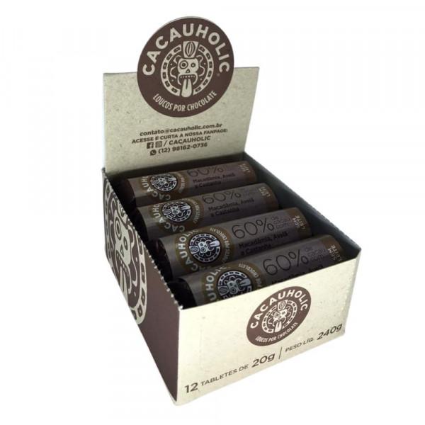 Tablete de Chocolate CacauHolic 60% Sem Leite com Macadâmia, Avelã e Castanha - 20g Caixa com 12 unidades