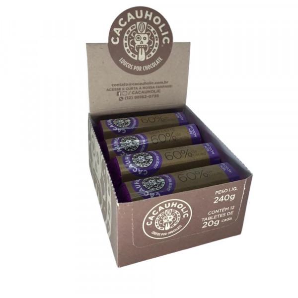 Tablete de Chocolate CacauHolic 60% Sem Leite Zero Açúcar - 20g Caixa com 12 unidades