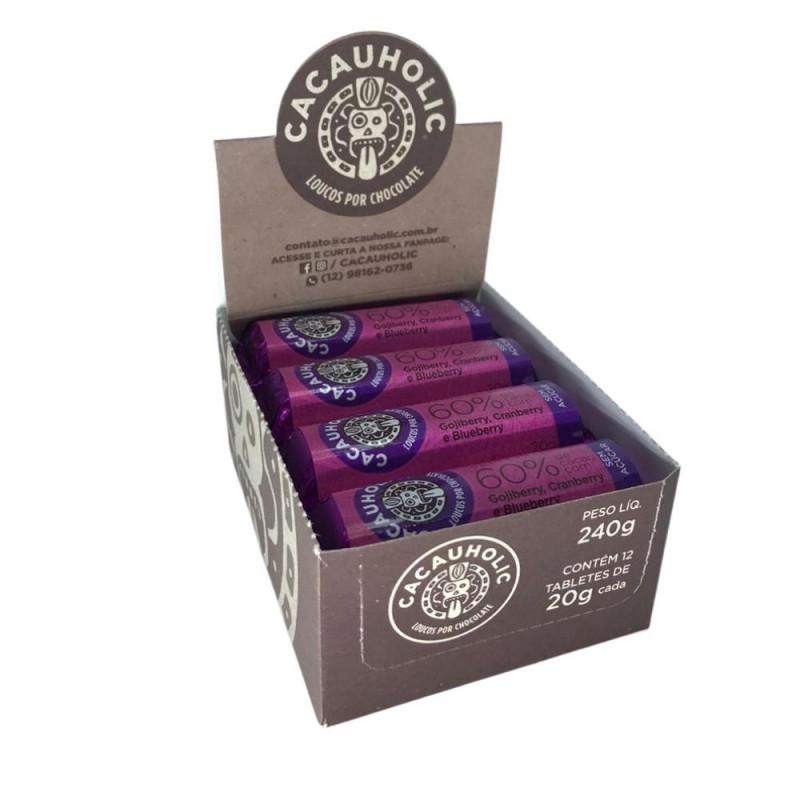 Tablete de Chocolate CacauHolic 60% Sem Leite Zero Açúcar com Gojiberry, Cranberry e Blueberry - 20g Caixa com 12 unidades