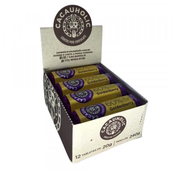 Tablete de Chocolate CacauHolic 60% Sem Leite Zero Açúcar com Goldenberry - 20g Caixa com 12 unidades