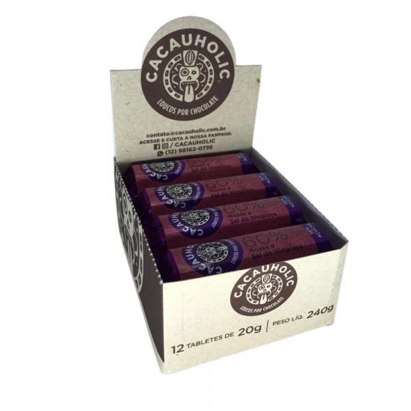 Tablete de Chocolate CacauHolic 60% Sem Leite Zero Açúcar com Nozes e Sal do Himalaya - 20g Caixa com 12 unidades