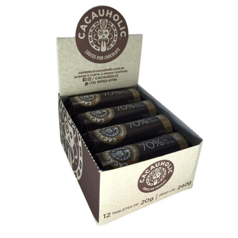 Tablete de Chocolate CacauHolic 70% Puro Sem Leite - 20g Caixa com 12 unidades