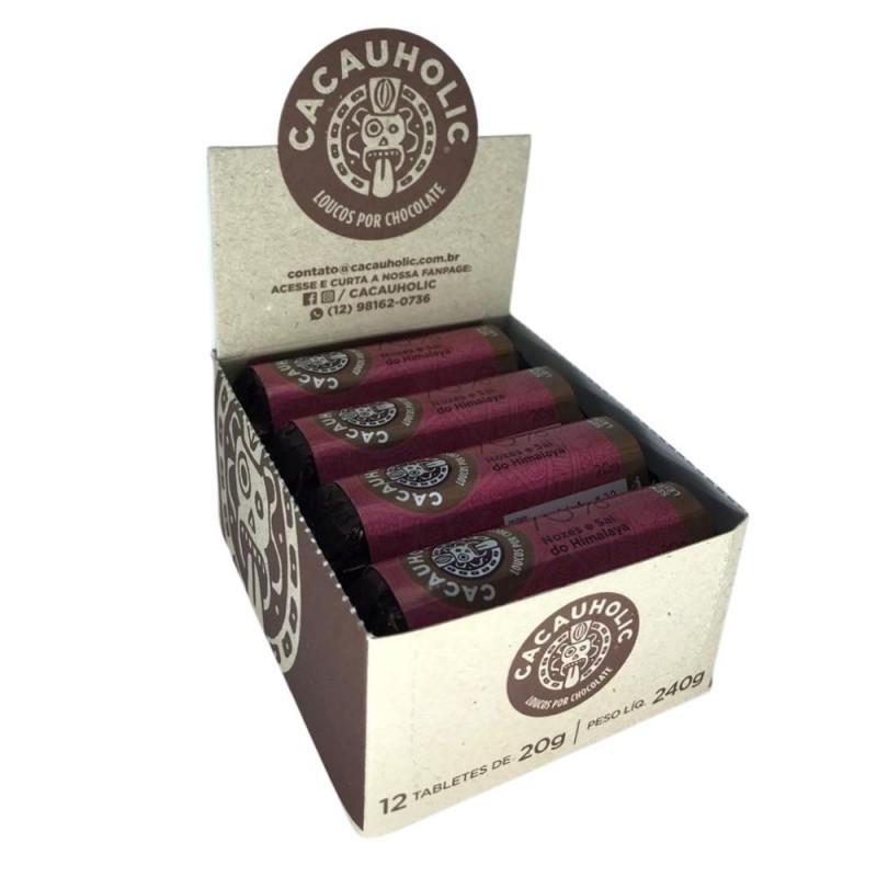 Tablete de Chocolate CacauHolic 70% Sem Leite com Nozes e Sal do Himalaya - 20g Caixa com 12 unidades
