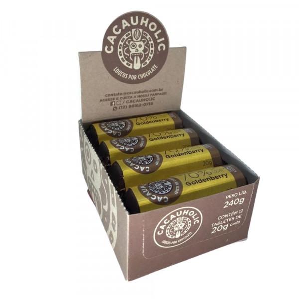 Tablete de Chocolate CacauHolic 70% Sem Leite Goldenberry - 20g Caixa com 12 unidades