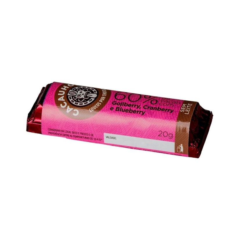 Tablete de Chocolate CacauHolic 60% Sem Leite com Gojiberry, Cranberry e Blueberry - 20g