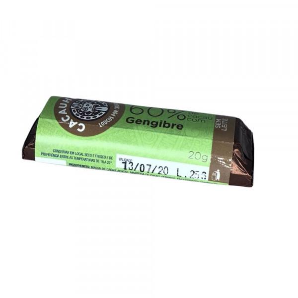 Tablete de Chocolate CacauHolic 60% Sem Leite com Gengibre - 20g