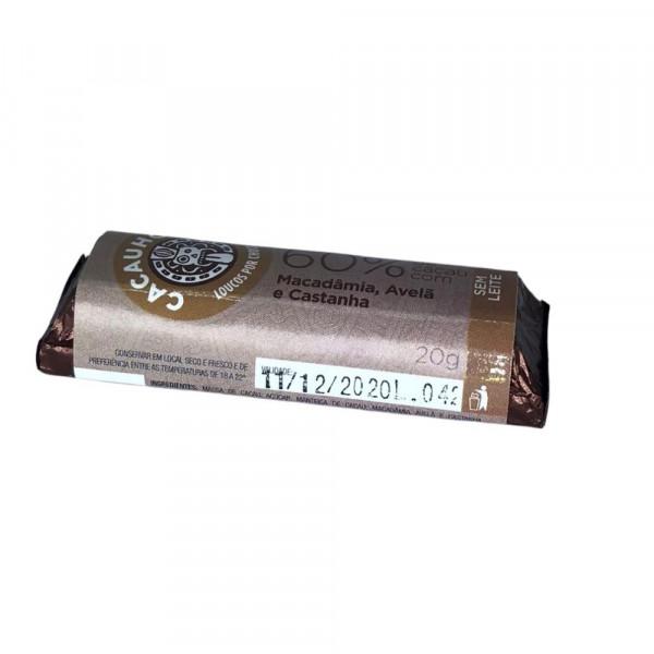 Tablete de Chocolate CacauHolic 60% Sem Leite com Macadâmia, Avelã e Castanha - 20g