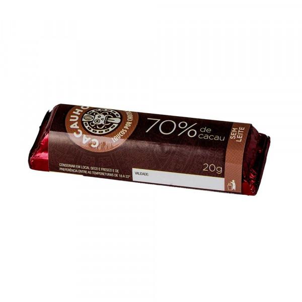 Tablete de Chocolate CacauHolic 70% Puro Sem Leite - 20g