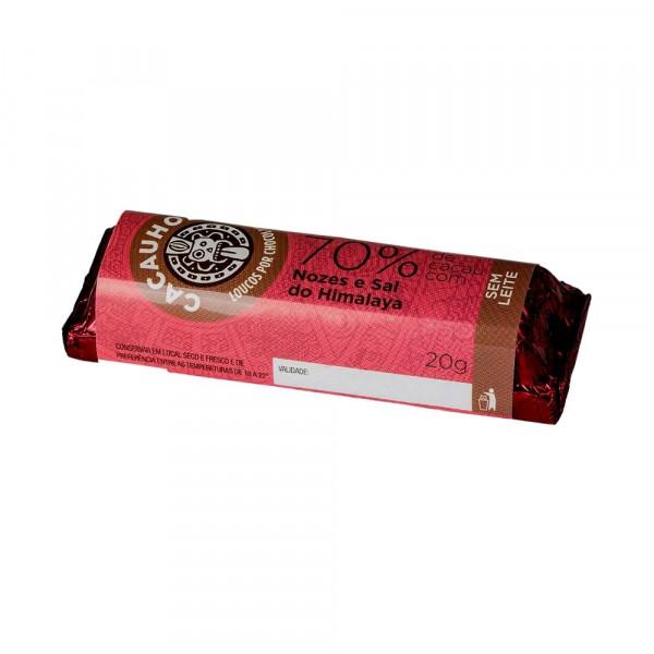 Tablete de Chocolate CacauHolic 70% Sem Leite com Nozes e Sal do Himalaya - 20g