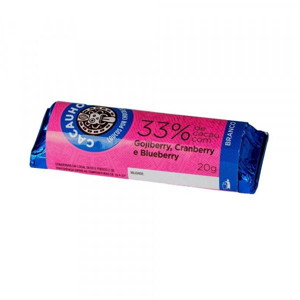 Tablete de Chocolate CacauHolic Branco 33% com Gojiberry, Cranberry e Blueberry - 20g