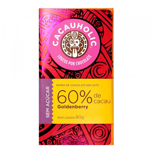 Tablete de Chocolate CacauHolic Zero Açúcar com Goldenberry - 80g