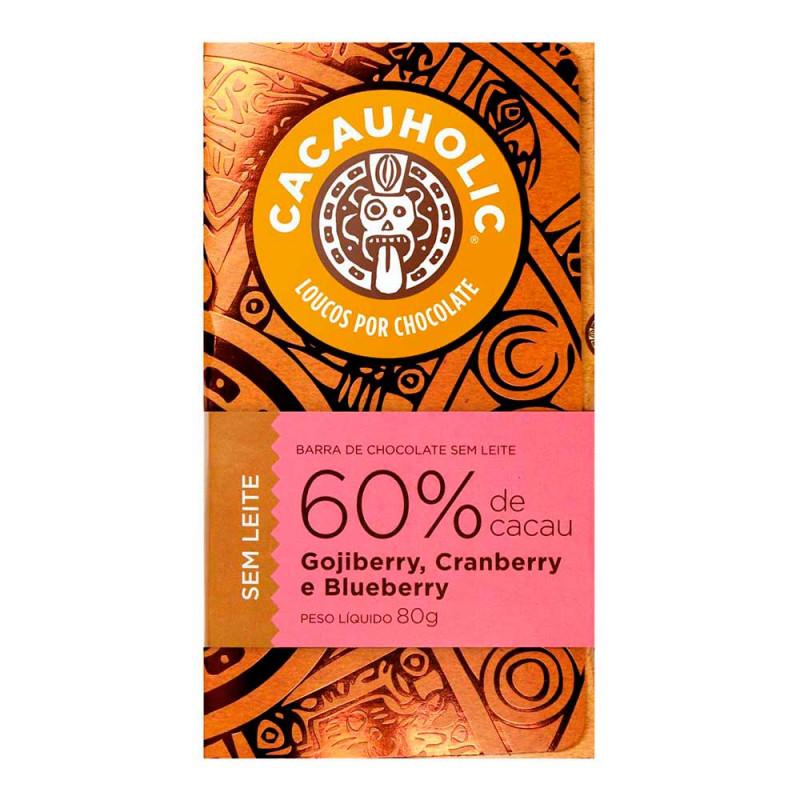 Tablete de Chocolate CacauHolic 60% Sem Leite com Gojiberry, Cranberry e Blueberry - 80g