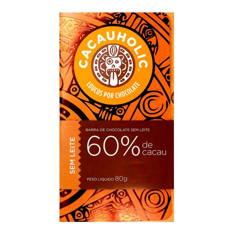 Tablete de Chocolate CacauHolic 60% Puro Sem Leite - 80g