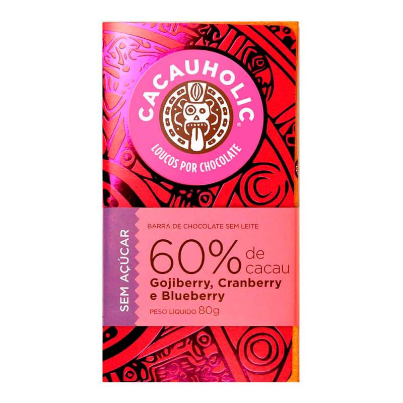 Tablete de Chocolate CacauHolic Zero Açúcar com Gojiberry, Cranberry e Blueberry - 80g