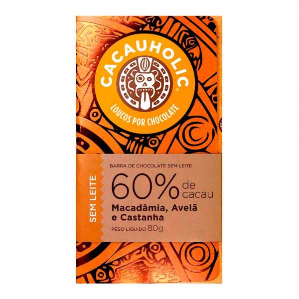 Tablete de Chocolate CacauHolic 60% Sem Leite com Macadâmia, Avelã e Castanha - 80g
