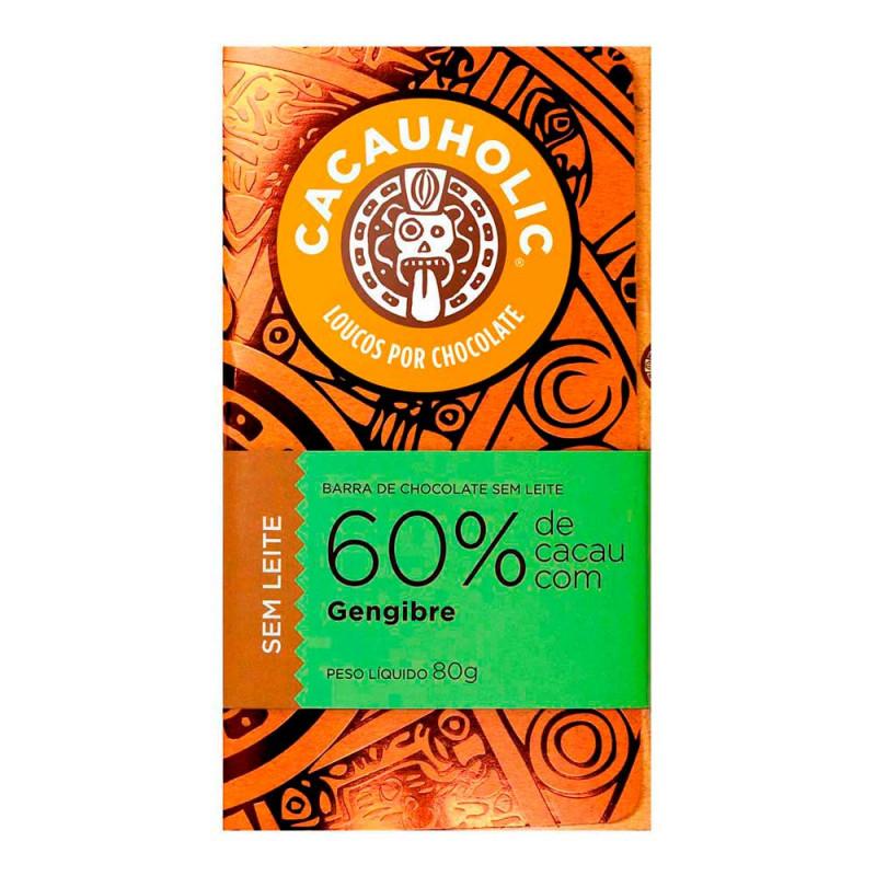 Tablete de Chocolate CacauHolic 60% Sem Leite com Gengibre - 80g