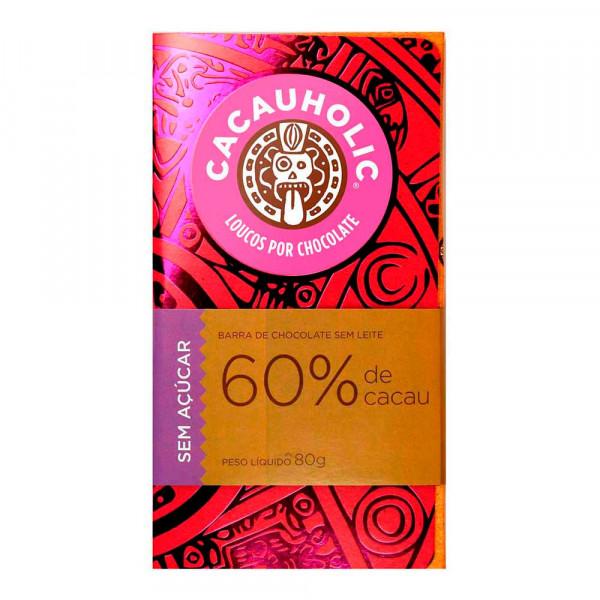 Tablete de Chocolate CacauHolic 60% Sem Leite Zero Açúcar - 80g