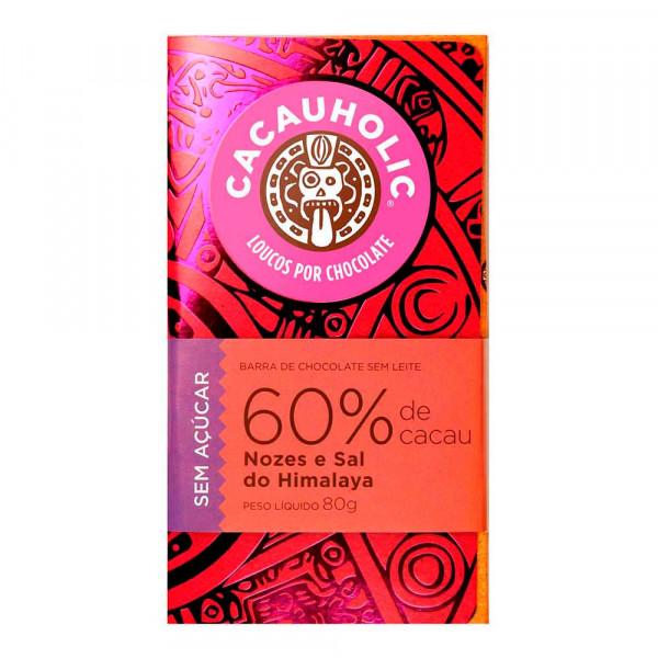 Tablete de Chocolate CacauHolic 60% Sem Leite Zero Açúcar com Nozes e Sal do Himalaya - 80g