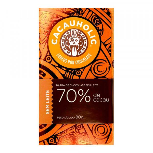 Tablete de Chocolate CacauHolic 70% Puro Sem Leite - 80g