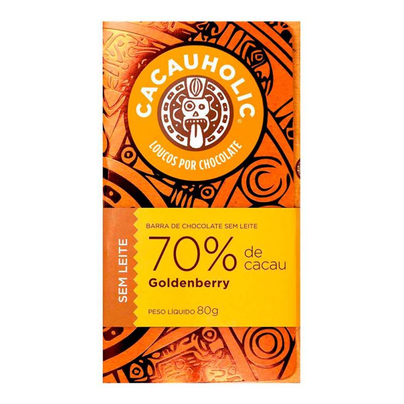 Tablete de Chocolate CacauHolic 70% Sem Leite com Goldenberry - 80g