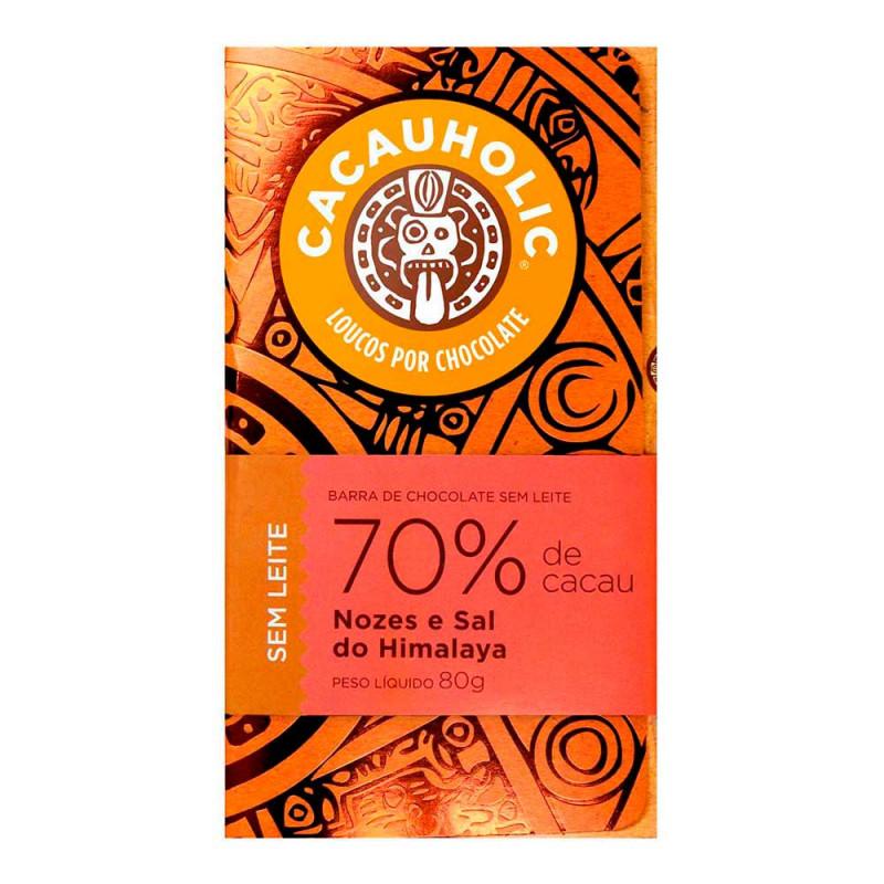 Tablete de Chocolate CacauHolic 70% Sem Leite com Nozes e Sal do Himalaya - 80g