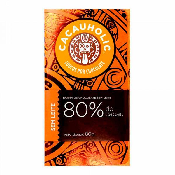 Tablete de Chocolate CacauHolic 80% Puro Sem Leite - 80g