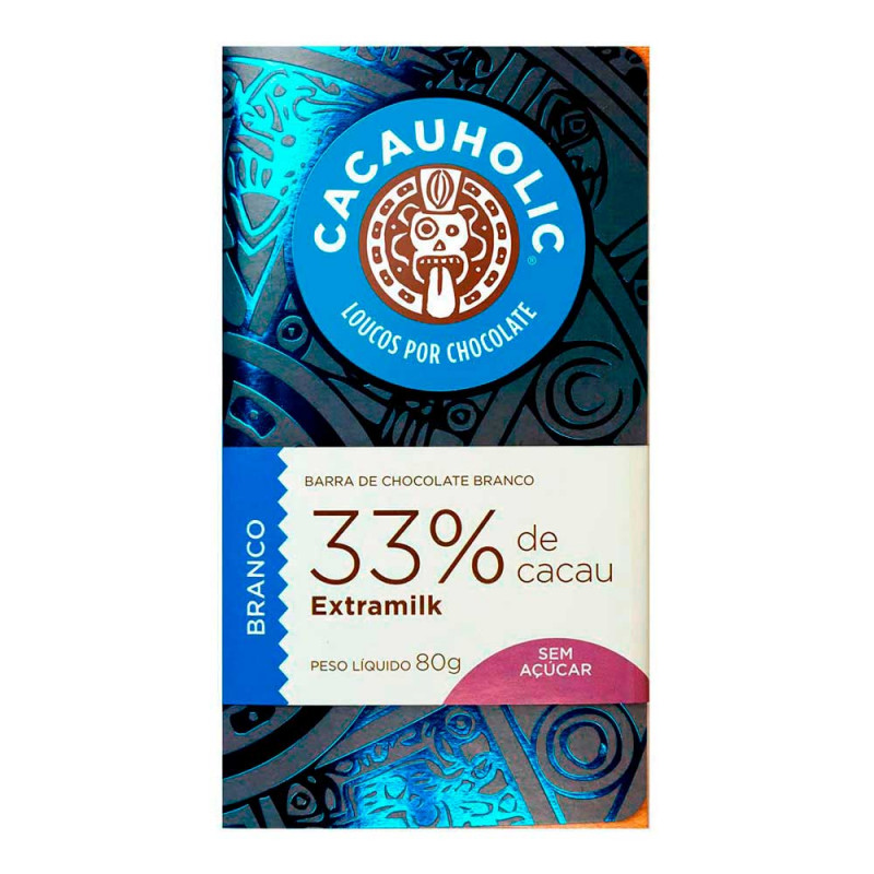 Tablete de Chocolate CacauHolic Branco 33% Zero Açúcar - 80g