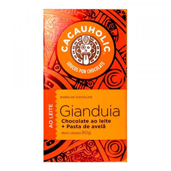 Tablete de Chocolate CacauHolic Gianduia 33% ao Leite com Pasta de Avelã - 80g