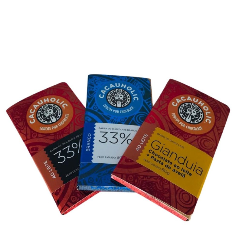 Kit Tabletes de Chocolates CacauHolic Ao Leite - 80g