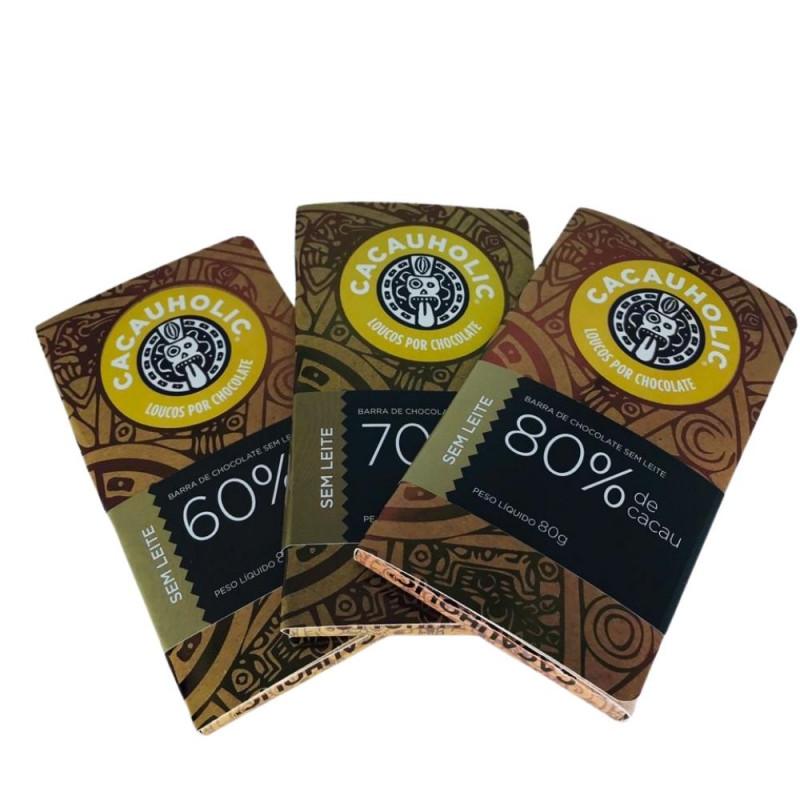 Kit Tabletes de Chocolates CacauHolic SEM LEITE - 80g